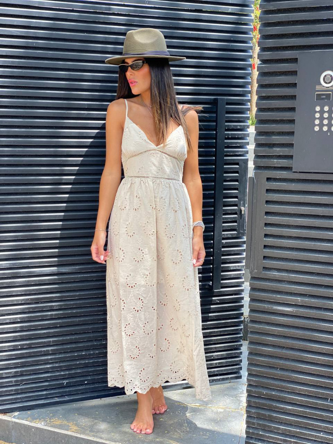 שמלה מקסי כתפיות שילוב