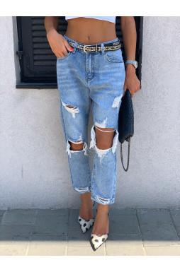 ג'ינס גבוהה קרעים