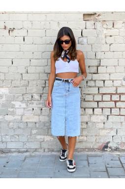 חצאית ג`ינס גומי
