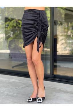 חצאית כיווץ בד קטיפה שורות