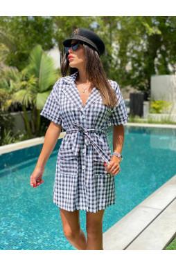 שמלה משובצת קשירה כפתורים כיסים