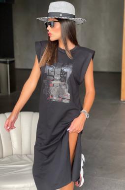 שמלה כריות בכתפיים שילוב דפוס