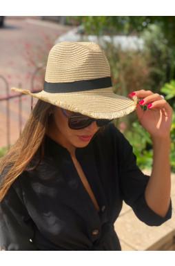 כובע קש פס שחור