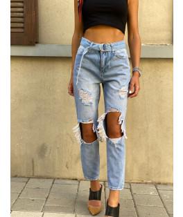 ג'ינס קרעים חגורה