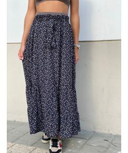 חצאית מקסי חגורה מודפס