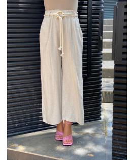 מכנסיים פשתן רחב קשירה
