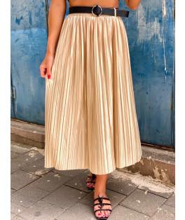 חצאית פליסה חגורה חלקה